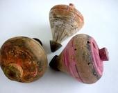 Set of 3 Vintage Wood Spinning Top
