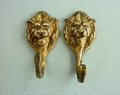 Set of 2 Vintage Hanger Brass Lion Face