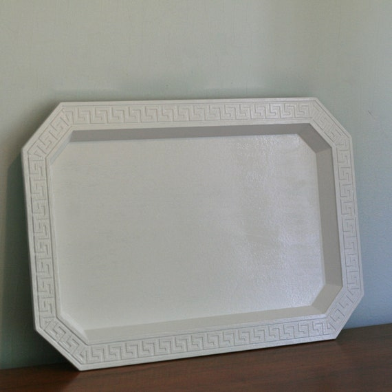 Vintage White Lacquer Greek Key Trim Serving Tray