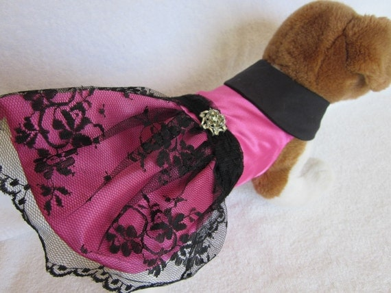 Dog dress Black Lace hot pink satin Dog costume Dog Clothes