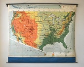 Huge Classroom Pull Down Map, United States and Alaska, Rand McNally, Vintage School Map