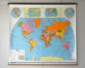 Colorful World and U.S. Map Combo, Classroom Pull Down Map, Multicolored, Plasticized