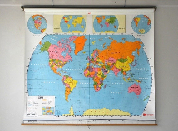 Colorful Classroom Pull Down Map, World / U.S. Map Combo, Plasticized, North America, Nystrom