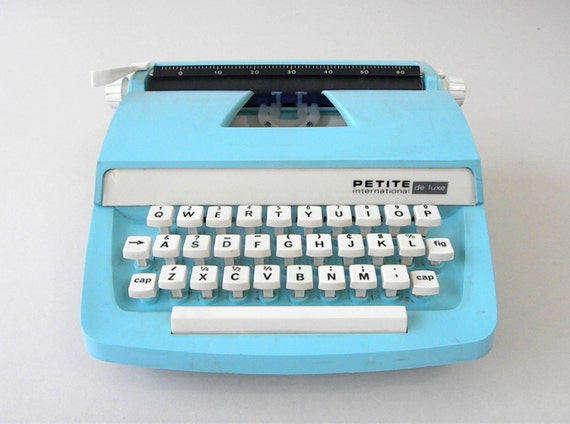 Vintage Aqua Petite International Plastic Typewriter, Mod Design, 1970's