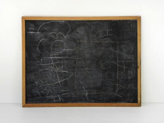Vintage 2-sided Chalkboard, Black / Green, 33 x 25 in.