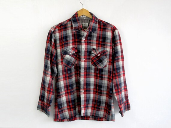 Vintage Flannel Shirt by Windbreaker, Men's Medium, Red, Navy Blue & Gray Plaid, Fathers Day Gift