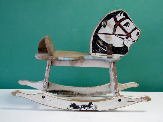 Charming 1950's Child's Rocking Horse Toy, Painted, Chippy, Rustic, White, Black, Light Blue