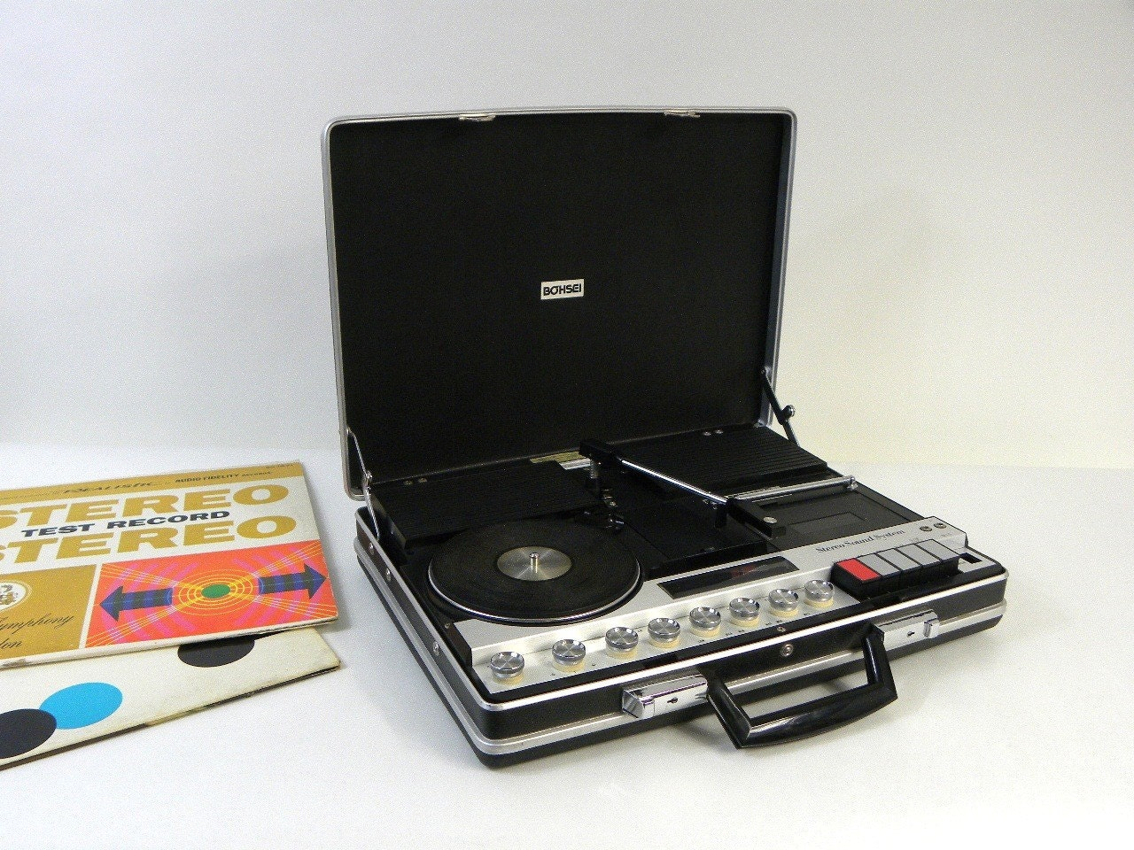 Briefcase Portable Record Player Stereo System By Bohsei