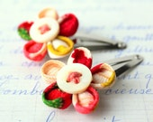 pair of vintage kimono silk hair clips - red  chysanthemum