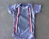Fourth of July baby tie onesie with suspenders