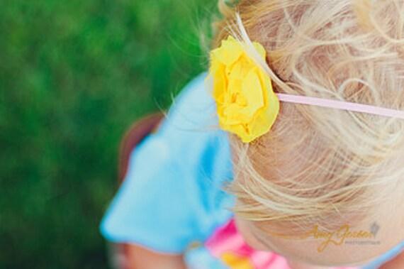 Chiffon Rosette Headband infant headband toddler headband in Yellow READY TO SHIP