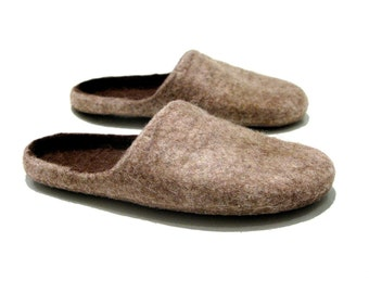 READY to ship - Size US men's 12 - brown felted slippers - indoor men's slippers - Christmas gift for men