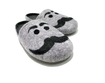 Felted mens slippers - natural indoor slippers - Original felted mens slippers with moustache