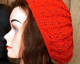 Slouchy Knit Beret Beanie Custom Mock Cable Hand made Made to Order  Tam Hat