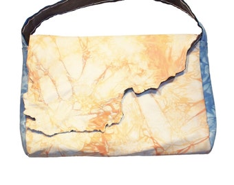 Handmade Orange Blue and White Lambskin Leather Embroidered Purse