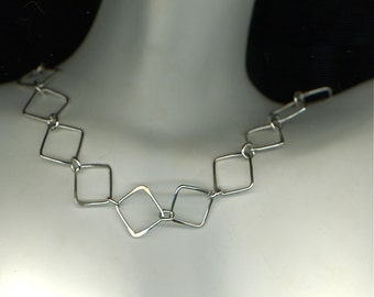 Necklace Sterling Silver Chain Link Squares Circles Wire Geometric Necklace Wire Jewelry Chain