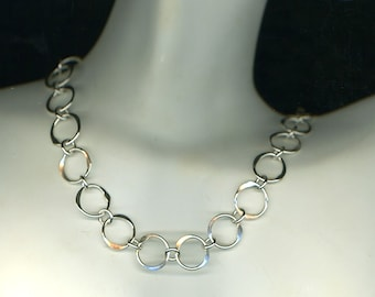 Circle Wire Necklace Sterling Silver Chain Necklace Hammered Wire Jewelry Sterling Silver Chain Link Circles Gift Women