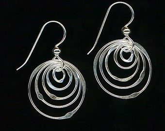 Hoop Wire Silver Earrings Dangle Circle Sterling
