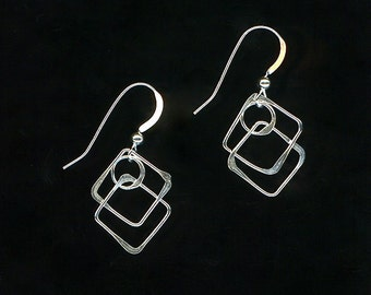 Dangle Earrings Sterling Silver Wire Hoop Squares Recycled Silver