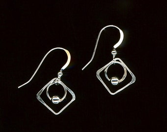 Square Wire Earrings Beaded Wire Jewelry Sterling Silver Earrings Circles Squares Beads Dangle Earrings Wire Jewelry