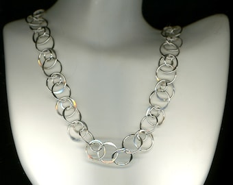 Chainmaille Circle Chain Sterling Silver Necklace Wire Jewelry Hammered Chain Link