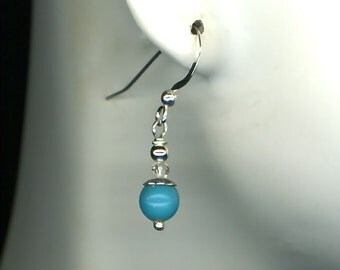 Turquoise Dangle Silver Beaded Earrings Sterling Turquoise Swarovski Crystal