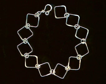 Chain Sterling Silver Bracelet Squares Links