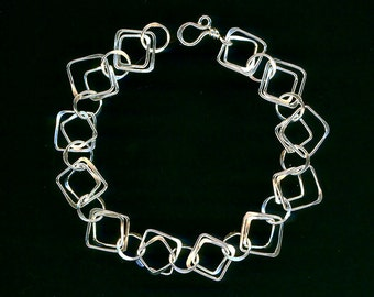 Chain Link Silver Chain Bracelet Double Squares Circles Hammered Metal Links Large Chain Sterlin Birthday Chainmaille Wire Metalwork Jewelry