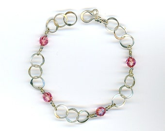 Pink Crystal Circle Bracelet Sterling Chain Wire Bracelet Silver Chain Circles Pink Crystals Wire Jewelry