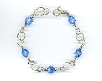Crystal Chain Beaded Bracelet Circle Sterling Silver Chain Link Circles Blue Swarovski Crystals