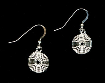 Spiral Wire Earrings Dangle Wire Sterling Silver Large Spirals Wire Jewelry Silver Anniversary