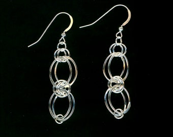 Oval Dangle Chainmaille Sterling Silver Earrings