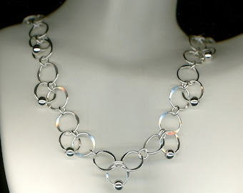 Silver Chain Necklace Open Circle Sterling Silver Beaded Metalwork Link Wire Jewelry Metal Wirework