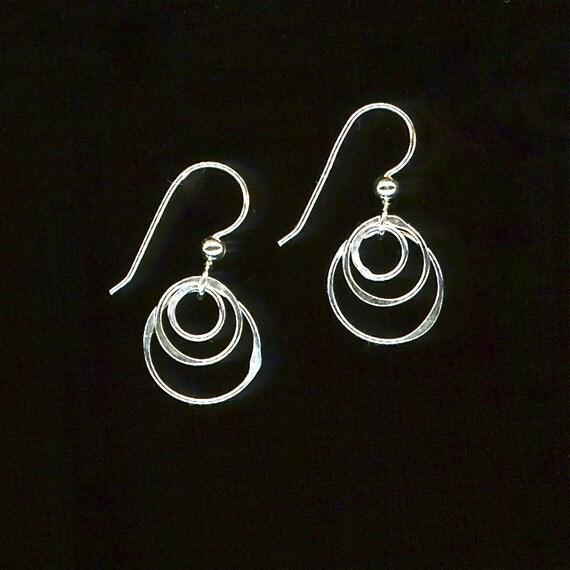 Concentric Circle Earrings: Hoop Earrings Wire Earrings Silver Earrings Circle