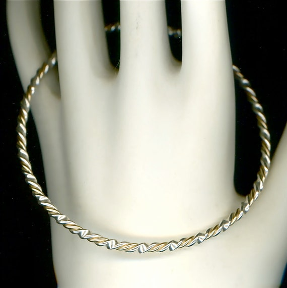 Bangle Sterling Silver Gold Twisted Wire Jewelry Handcrafted Metal Bracelet Metalwork  Wrapped Bangle Handmade