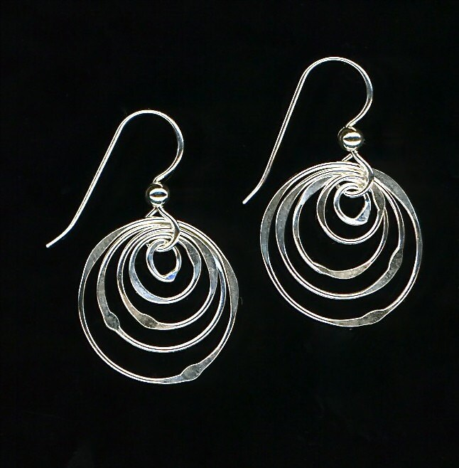 Concentric Circle Earrings: Hoop Wire Silver Earrings Dangle Circle Sterling