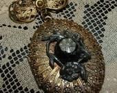 Victorian Gold Filigree Locket Brooch, Pin