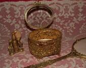 Vintage 3 Pc. Gold Filigree Dresser, Vanity Set - Perfume, Beveled Glass Box, Mirror