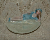 Antique German Bathing Beauty on a Shell - Pin Dish, Ring Dish