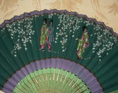Vintage Paper Hand Fan from The Plaza - Handpainted - Flowers, Geisha Girls
