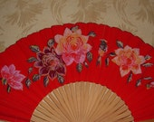 Vintage Paper Fan - Handpainted - Roses, Bird on Cherry Red