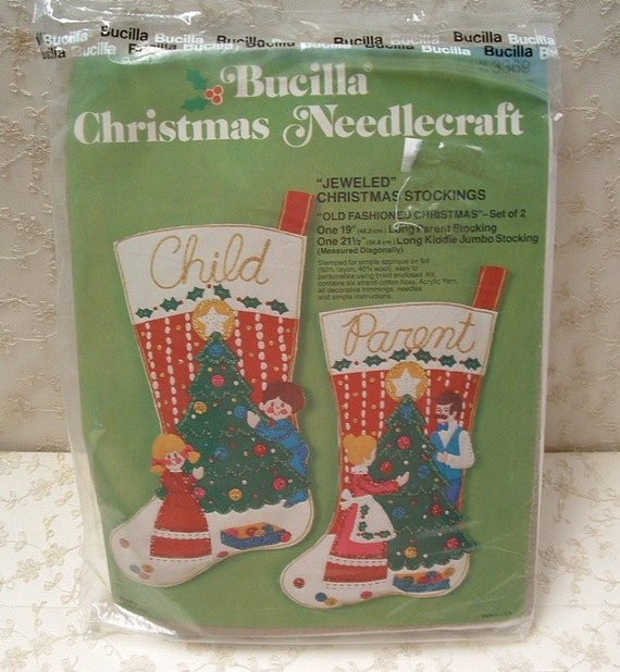 Vintage Bucilla Felt Stocking Kit with 2 stockings - PARENT and CHILD