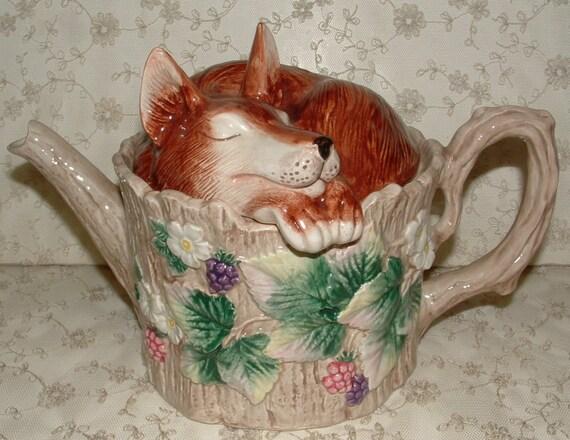 Fitz & Floyd Teapot - Reynard - Fox - Vintage Collectible