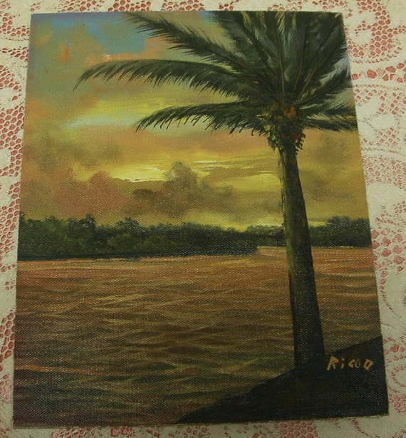 Signed Vintage Original Oil Painting - Tropical Sunset