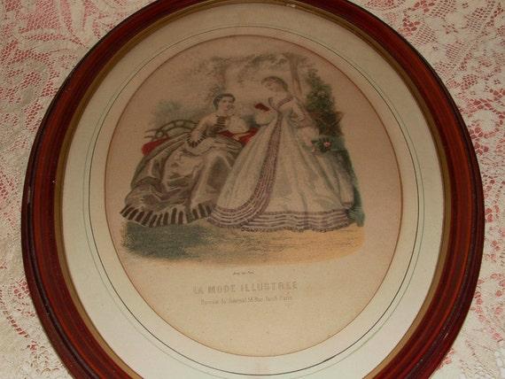 Large Vintage 1940's Godey's Print in Oval Frame