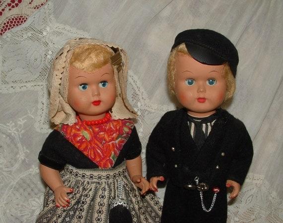 Vintage Pr. Dutch Dolls - Composition Boy & Girl, Ethnic Costumes - Mohair Wigs