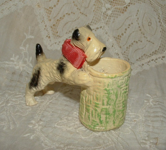 RESERVED LISTING for Sue - Small Vintage Scottie Dog,Terrier with basket holder - Vanity Item - Chalkware