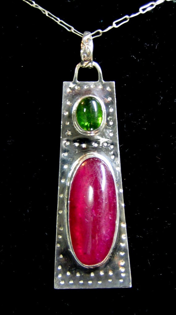 Ruby and Tourmaline Pendant in Fine and Sterling Silver