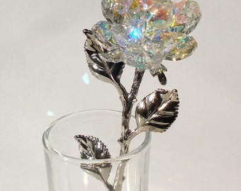 Crystal Rose made with Swarovski Crystal in glass vase