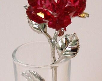 Red Crystal Rose made using Swarovski Crystal in glass vase